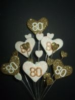 Hearts 80th birthday cake topper decoration in gold and white - free postage
